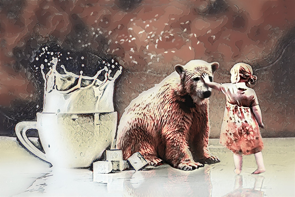#freetoedit When it snows milk I find it best to be with a friend.  #imagine #bear #surreal #littlegirl #feastmagiceffect