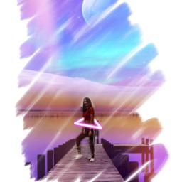 freetoedit remixit girl galaxy water
