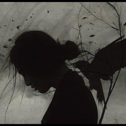 myedit girl raven bird dark freetoedit