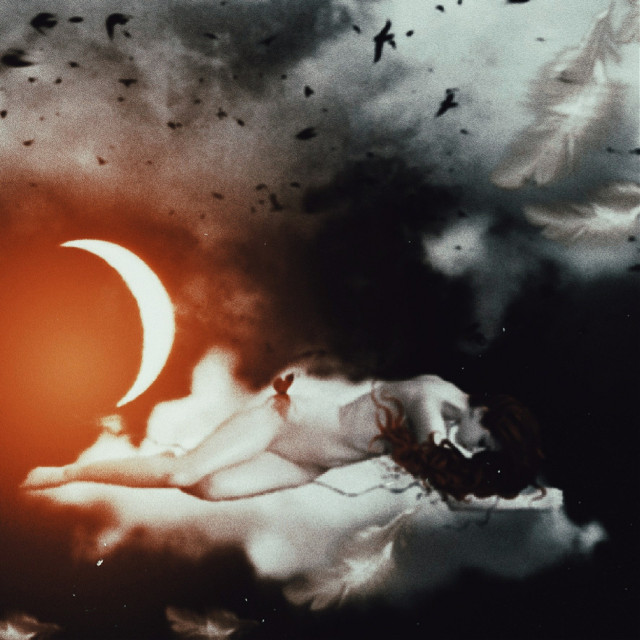 🖤  #myedit #girl #moon #feathers #dark #art #madewithpicsart #doubleexposure #freetoedit