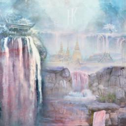 freetoedit srcpinkbrush pinkbrush waterfalls landscape