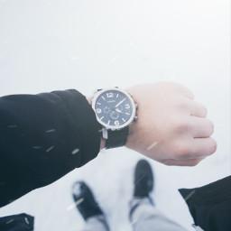 watch clock fossil snow winter