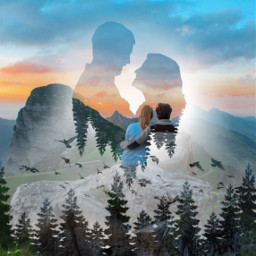 freetoedit couple sunset mountain hill