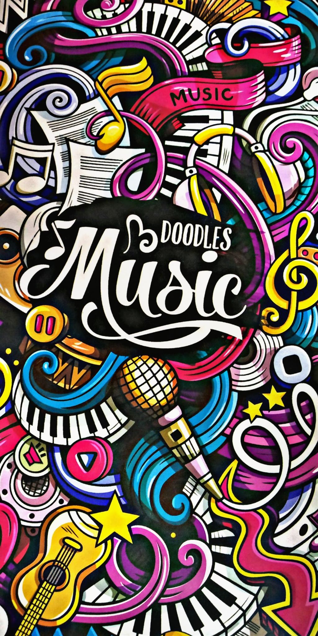 Music Doodle Cartoon Love Music Colorful Wallpaper