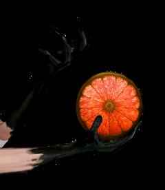 black gloves hands arms citrus