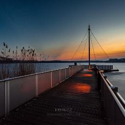 brandenburg sunset lake bridge teupitz