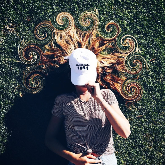 #freetoedit #swirl #swirltool #hair #girl #woman #grass #hat