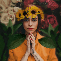 freetoedit flowers frida unibrow_queen crown