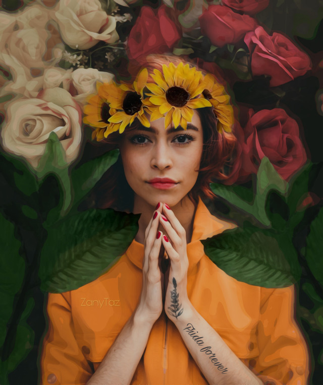 Happy weekend everyone! Surround yourself with #flowers. 🌿🌷😊 #frida #unibrow_queen  #crown #sunflowers #freetoedit Thank you everyone 💛 Know, you are loved!!