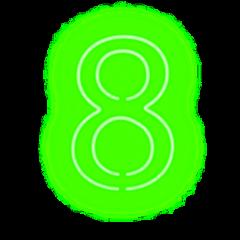 ftestickers numbers 8 neon luminous