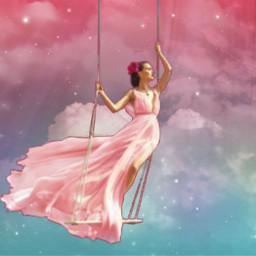 freetoedit fantasyart pinkcloud woman swing