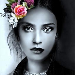 myoriginalwork originalart womanportrait conceptualart blackandwhite eccolorsplasheffect