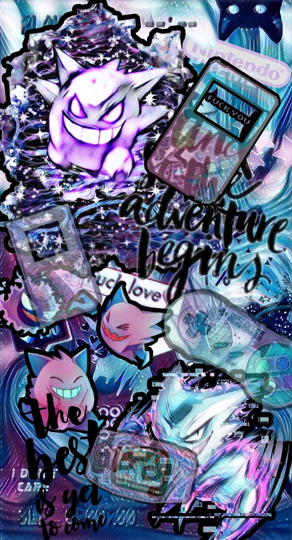 #freetoedit  #pokemon #gengar #haunter #pastel #pastelgoth #glitch #galaxy #wallpaper