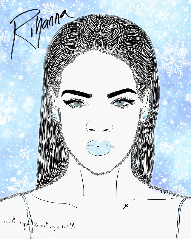 #freetoedit #rihanna #winter #snowflakes #girl #blue #eyes #sparkles
