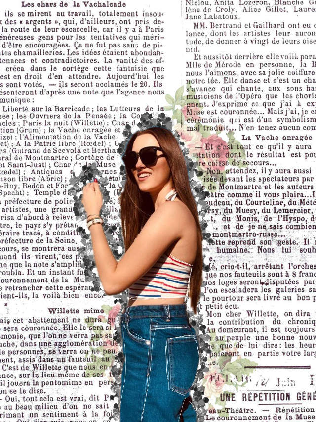 #freetoedit #remixit #girl #collage #drawing #white #newspaper #flowers