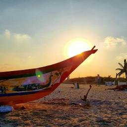 sunset nature beach boat palm