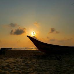 sunset beach boat