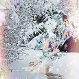 freetoedit fairy snow forest fantasyart