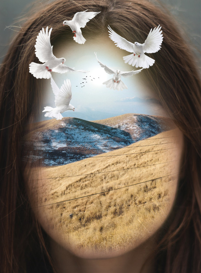 #freetoedit #woman #face #nature #mountains #sun #snow #glare #surreal #doubleexposure #beautiful #hair #blending #doves #birds #glare #manipulation