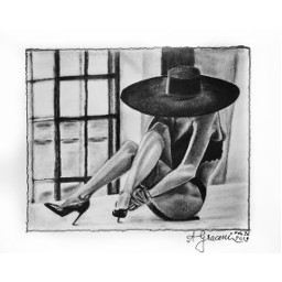 drawing painting charcoal drybrushing woman