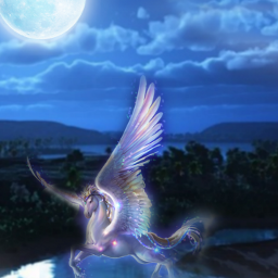 freetoedit fantasyart unicorn moonlight creativeedit