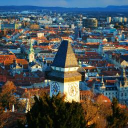 graz styria austria clocktower rooftops
