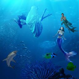 freetoedit sirens shark water underwater