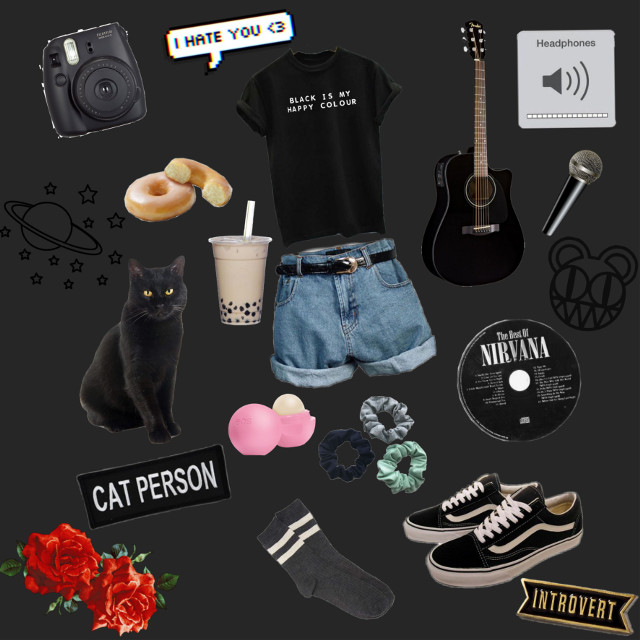 A moodboard reflecting my personality! 😆♥️ #moodboardaesthetic #moodboard #moodboards #aesthetic #black #blackaesthetic #me