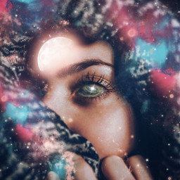 freetoedit woman eye doubleexposure galaxy scarf