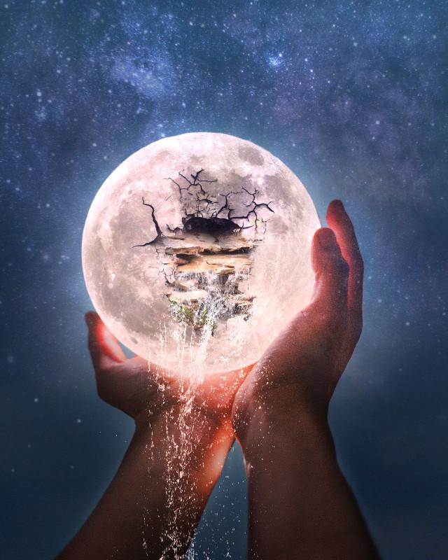 #freetoedit #moon #cracked #waterfall #water  #myedit