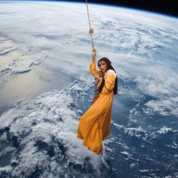 freetoedit woman dress earth hanging