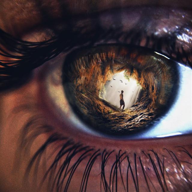 #freetoedit #doubleexposure #cave #man #eyes #eyeart