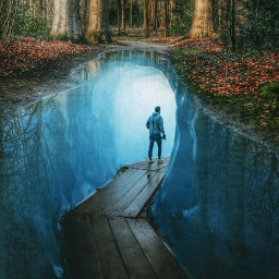doubleexposure forest puddle cave path freetoedit