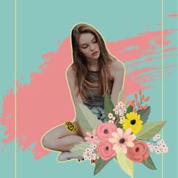 collage girl girls flower freetoedit