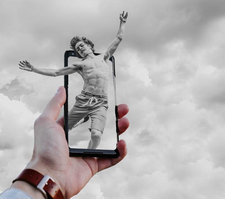 #freetoedit #hand #mobile #sky #foggy #doubleexposure #remixed