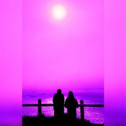 freetoedit purple asthetic couple sunset