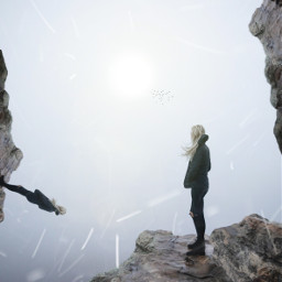 freetoedit woman cliff mountains surreal