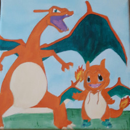 freetoedit painting charizard charmander pokemon