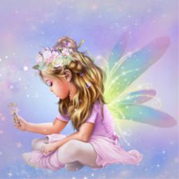 freetoedit fantasyart angel fairylights dreamy