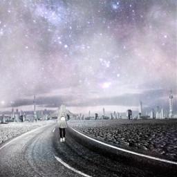 freetoedit girl city galaxy