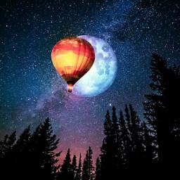 galaxy night moon balloon sky freetoedit