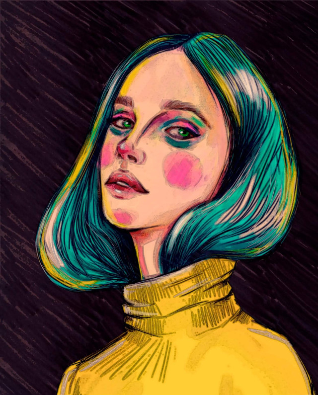#freetoedit #illustration #artistic #color #girl #moda #art #artist #bluehair #adobephotoshop #drawing #painting #cute #greeneyes