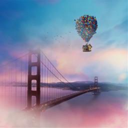freetoedit balloon colorful sky house