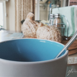 perspective blur blue spoon
