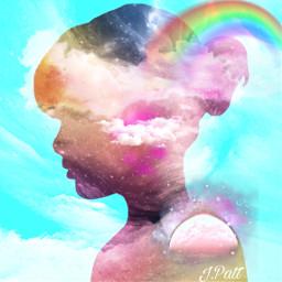 freetoedit female profile sky clouds myeditoffreetoedit