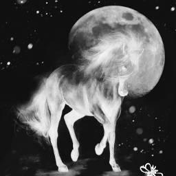 moon horse brushes sky dreamy