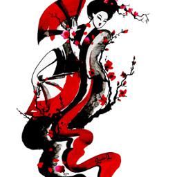 geisha fan red black branches