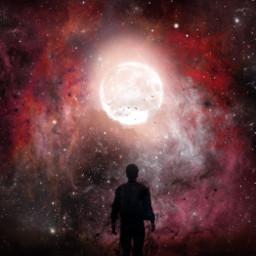 freetoedit person silhoutte galaxy stars