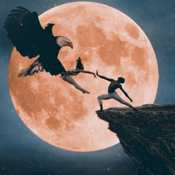 freetoedit edit surreal moon eagle