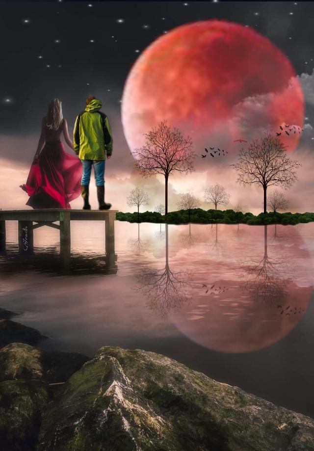 🎶😊🎶  https://youtu.be/S1yKCRp5qzU #freetoedit #forest #fantasy #fantasyart #myedit #editedbyme #creative #creativity #araceliss #woman #man #reflection #surreal #surrealism  #ircfullpinkmoon #couple  #fullpinkmoon #love